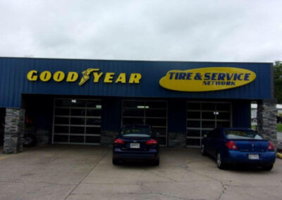 Good year tire logo on storefront