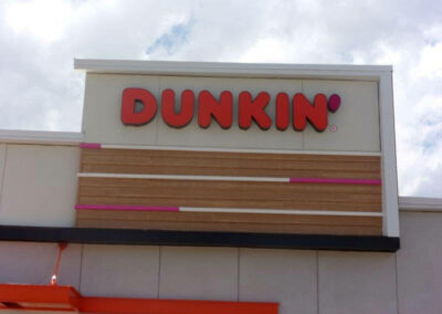 Dunkin' Donuts logo on store front